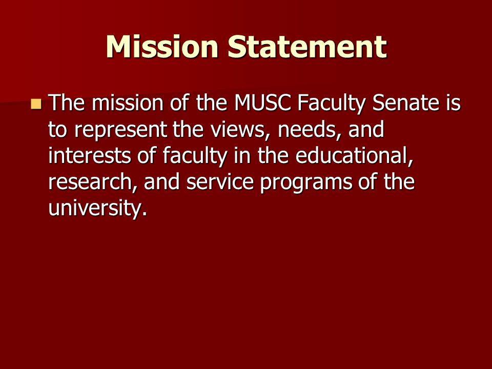 Strategic Plan for Senate Developed by IA (Carol McDougall) and passed by the Senate in July 2011 (1) Develop brand recognition (graphic/logo) (2) Better system to update Senate web site (3) Increase e-mail communication to faculty, Secretary writes summaries for Senators to report back to their constituents (4) Improve Faculty Senate as support resource for faculty (ombuds, meet & greet)