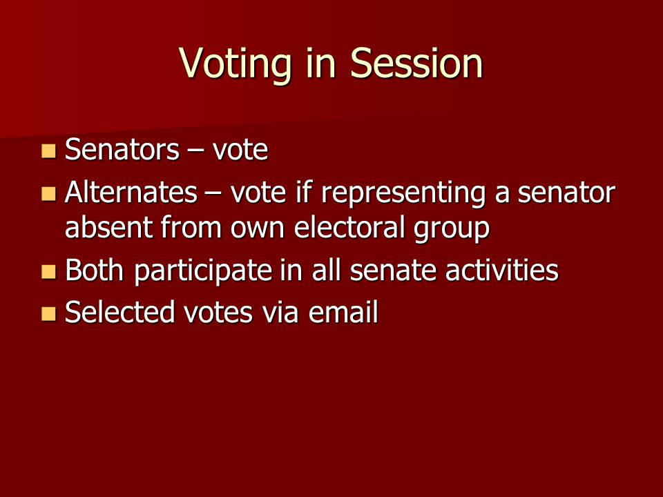 Voting in Session Senators – vote Senators – vote Alternates – vote if representing a senator absent from own electoral group Alternates – vote if representing a senator absent from own electoral group Both participate in all senate activities Both participate in all senate activities Selected votes via email Selected votes via email