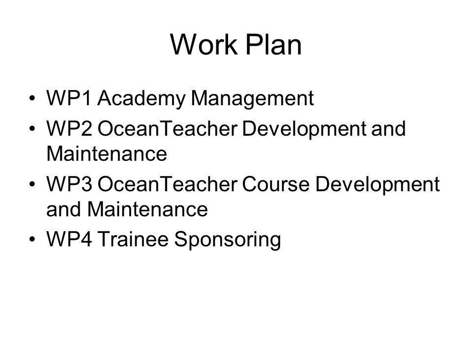 Work Plan WP1 Academy Management WP2 OceanTeacher Development and Maintenance WP3 OceanTeacher Course Development and Maintenance WP4 Trainee Sponsoring