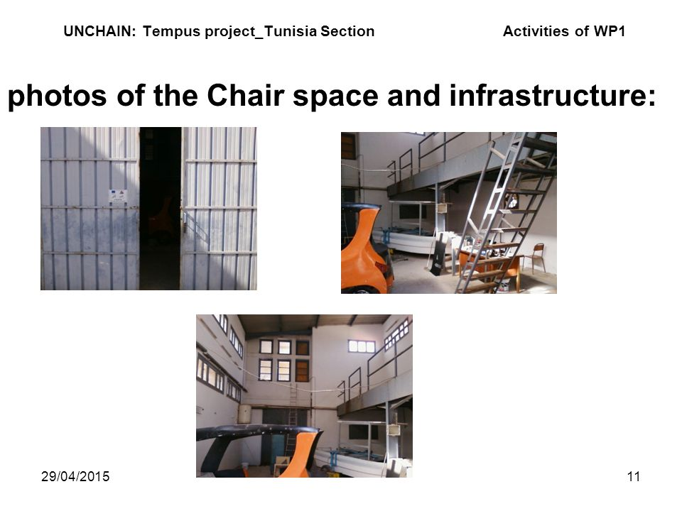 29/04/201511 UNCHAIN: Tempus project_Tunisia Section Activities of WP1 photos of the Chair space and infrastructure: