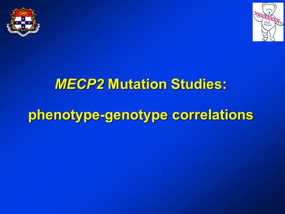 MECP2 Mutation Studies: phenotype-genotype correlations