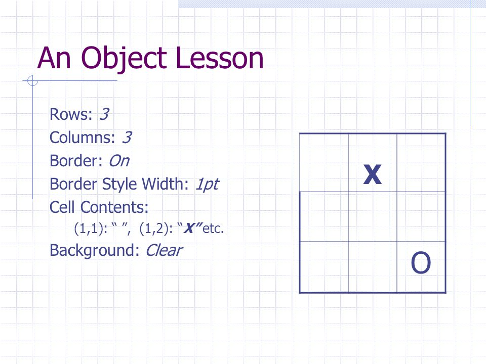 An Object Lesson Rows: 3 Columns: 3 Border: On Border Style Width: 1pt Cell Contents: (1,1): , (1,2): X etc.
