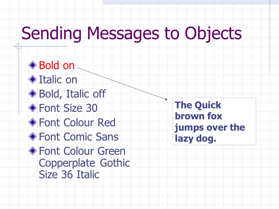 Sending Messages to Objects The Protocol for an object is the set of messages that an object understands.