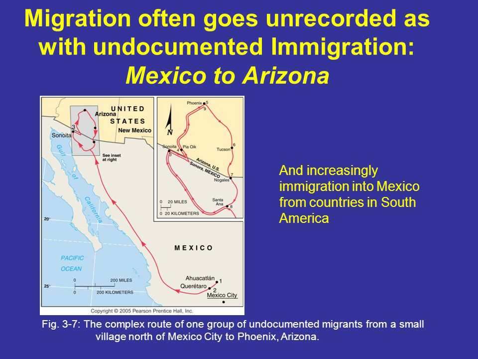 Migration often goes unrecorded as with undocumented Immigration: Mexico to Arizona Fig. 3-7: The complex route of one group of undocumented migrants