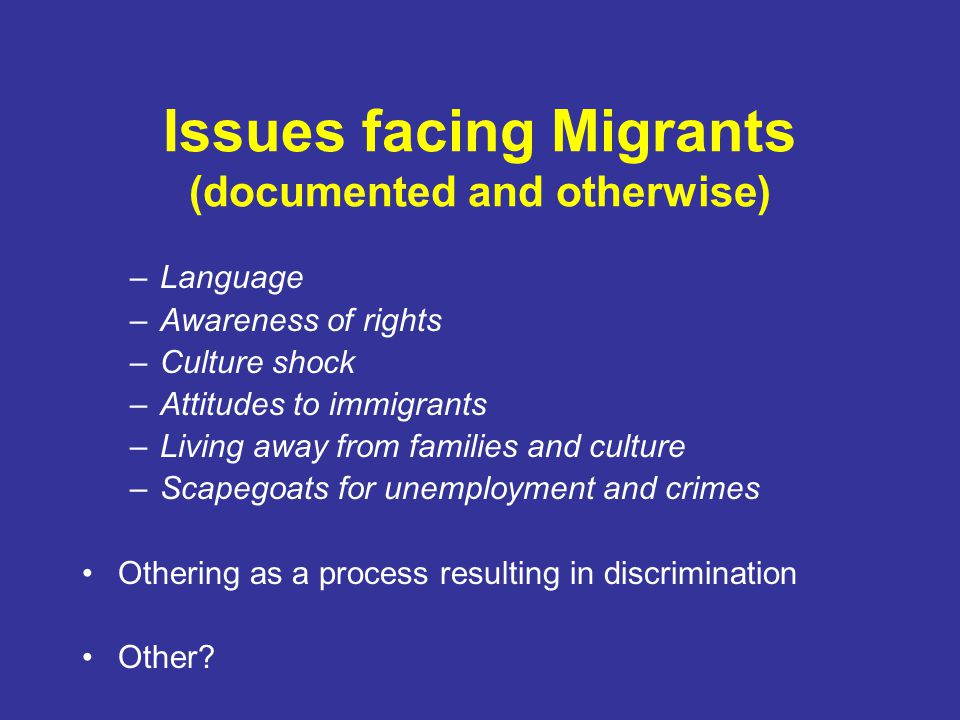 Issues facing Migrants (documented and otherwise) –Language –Awareness of rights –Culture shock –Attitudes to immigrants –Living away from families an