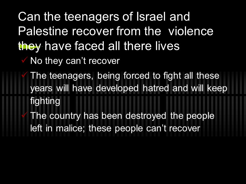 How it all began In WW1 Britain took control of Palestine Later they made it a home for the Jewish people during the holocaust This created a controversy between the governments and the Palestinians didn't want the Jews to take over And so it began