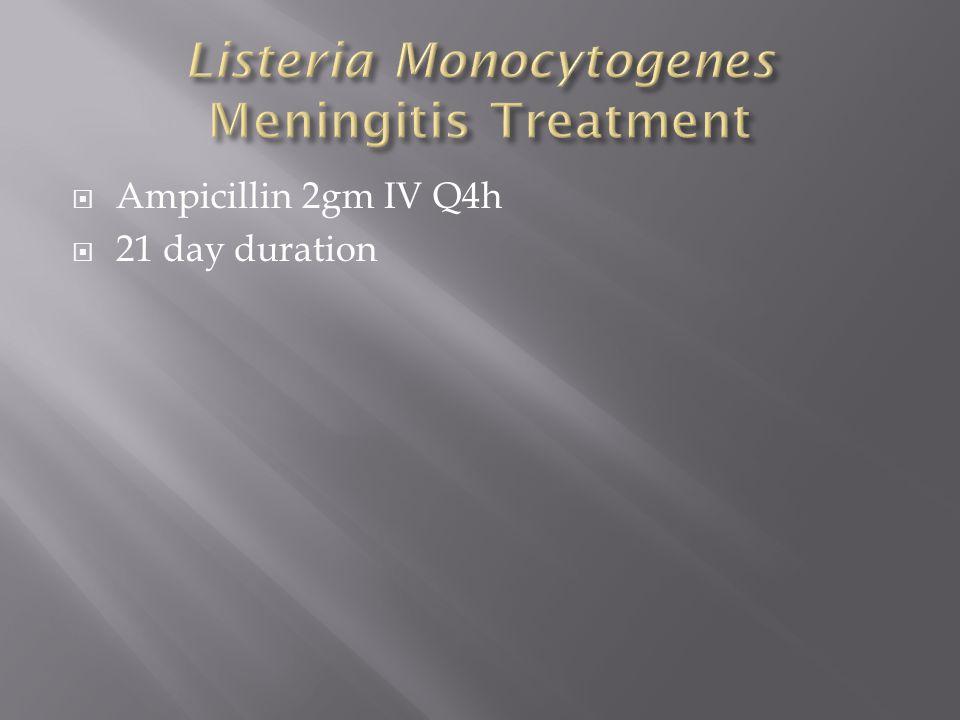  Ampicillin 2gm IV Q4h  21 day duration