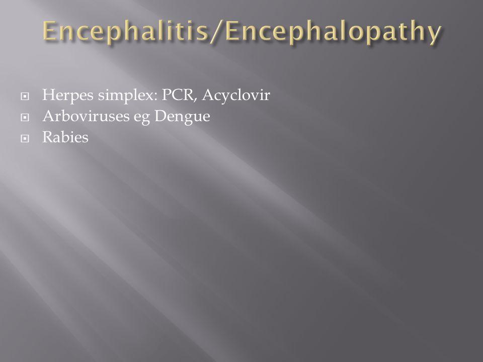  Herpes simplex: PCR, Acyclovir  Arboviruses eg Dengue  Rabies