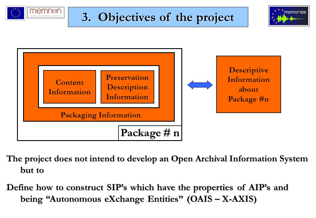 Descriptive Information about Package #n Preservation Description Information Content Information Package # n Packaging Information The project does not intend to develop an Open Archival Information System but to Define how to construct SIP's which have the properties of AIP's and being Autonomous eXchange Entities (OAIS – X-AXIS) 3.