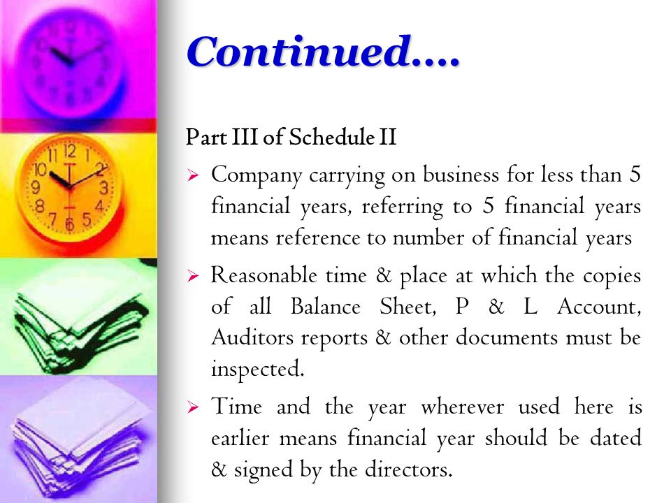 Part III of Schedule II   Company carrying on business for less than 5 financial years, referring to 5 financial years means reference to number of financial years   Reasonable time & place at which the copies of all Balance Sheet, P & L Account, Auditors reports & other documents must be inspected.
