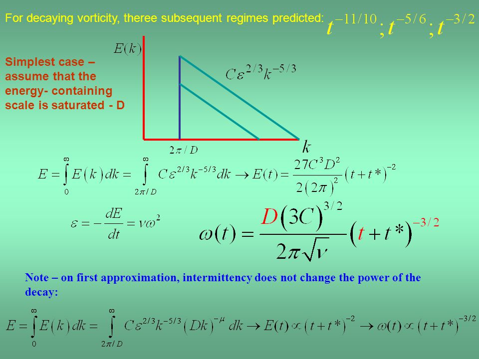 Simplest case – assume that the energy- containing scale is saturated - D Note – on first approximation, intermittency does not change the power of th