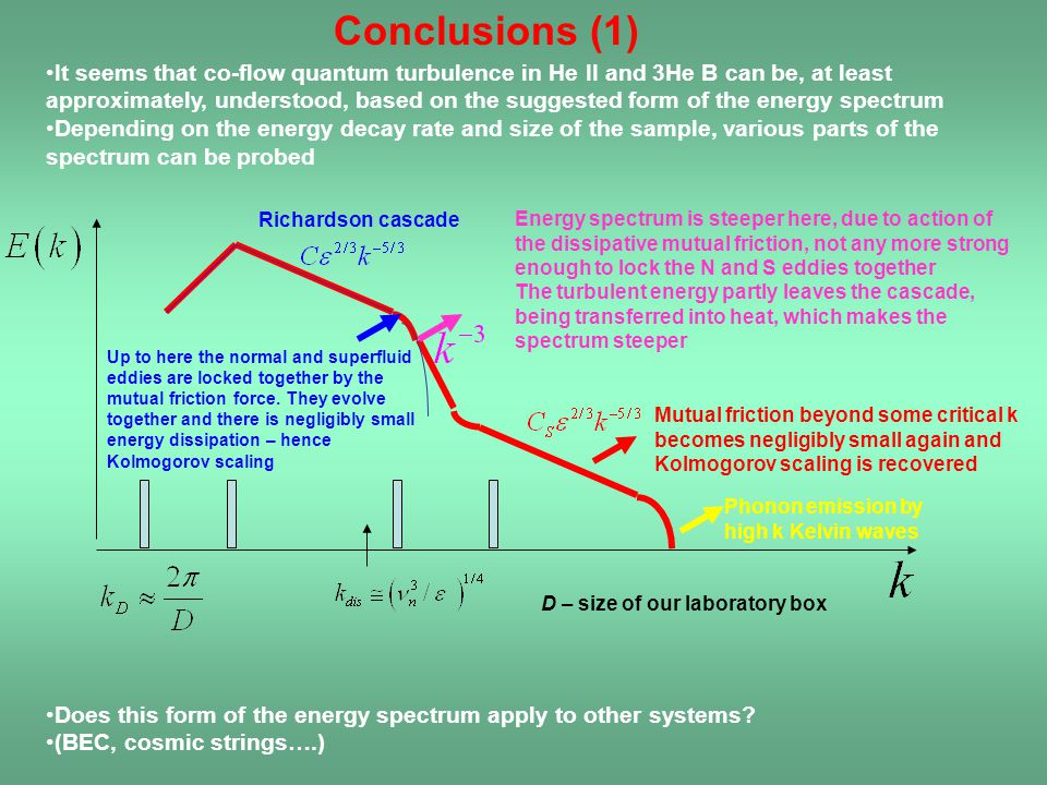 Conclusions (1) Energy spectrum is steeper here, due to action of the dissipative mutual friction, not any more strong enough to lock the N and S eddi