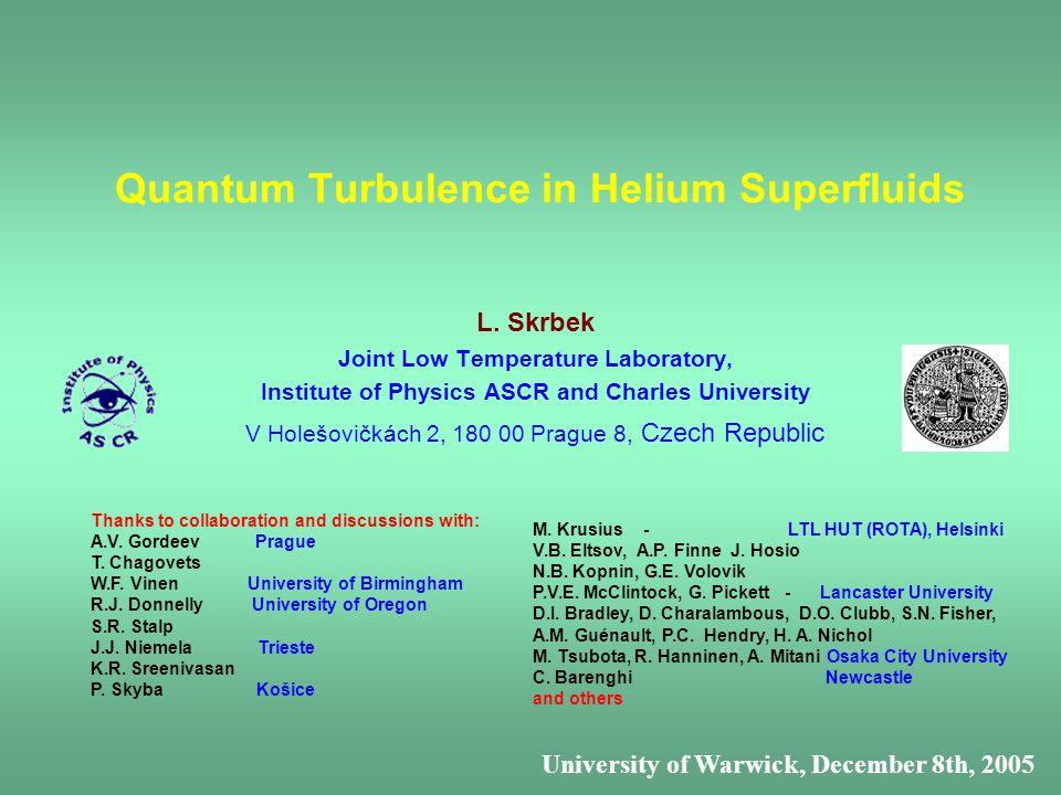 Quantum Turbulence in Helium Superfluids L.