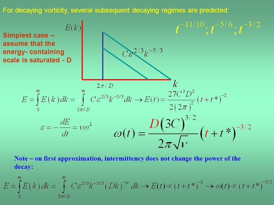Simplest case – assume that the energy- containing scale is saturated - D Note – on first approximation, intermittency does not change the power of the decay: For decaying vorticity, several subsequent decaying regimes are predicted: