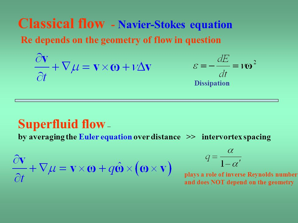 plays a role of inverse Reynolds number and does NOT depend on the geometry Superfluid flow – by averaging the Euler equation over distance >> intervortex spacing Classical flow - Navier-Stokes equation Re depends on the geometry of flow in question Dissipation