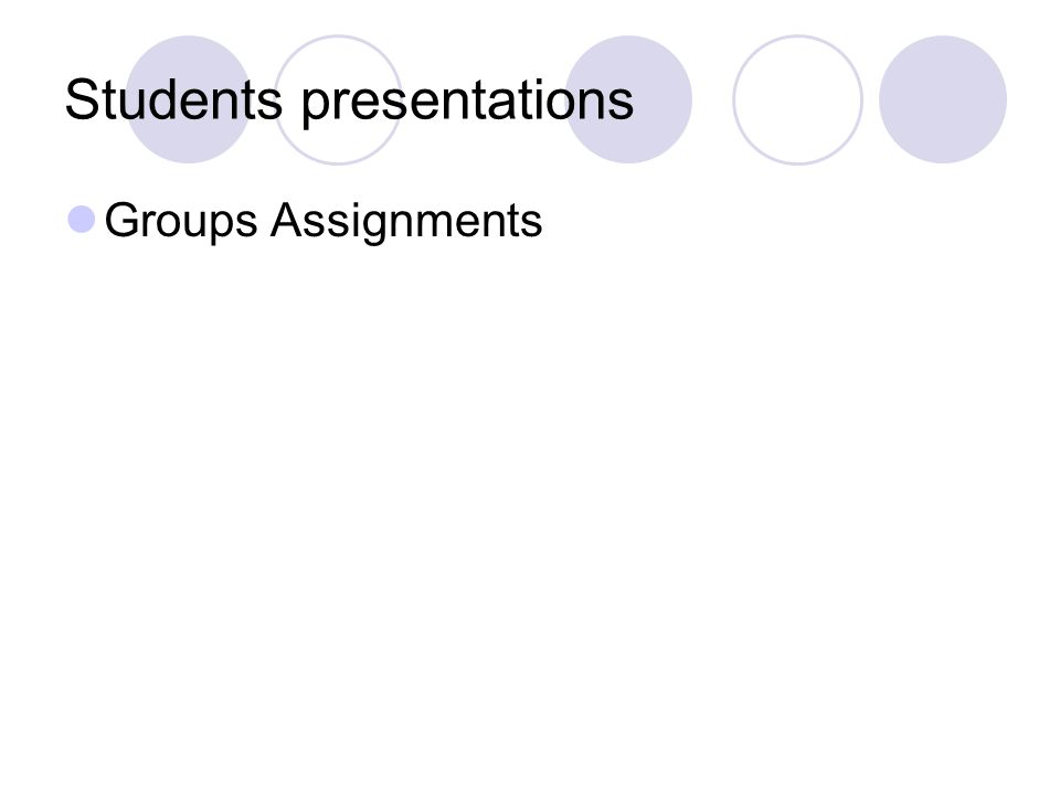 Students presentations Groups Assignments