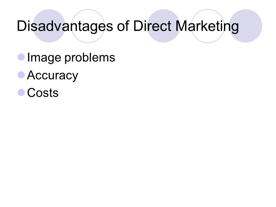 Disadvantages of Direct Marketing Image problems Accuracy Costs