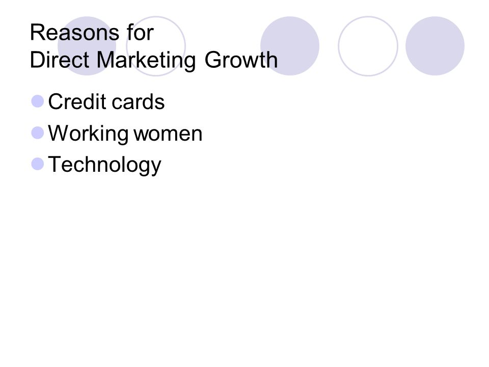 Reasons for Direct Marketing Growth Credit cards Working women Technology