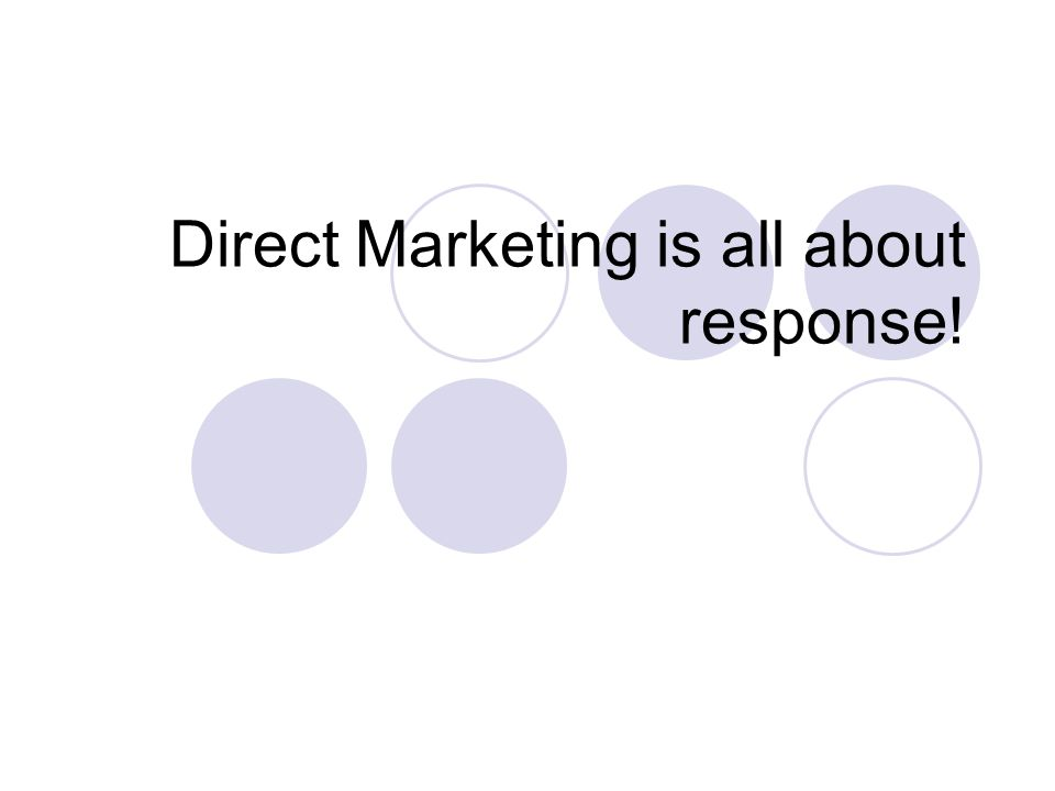 Direct Marketing is all about response!
