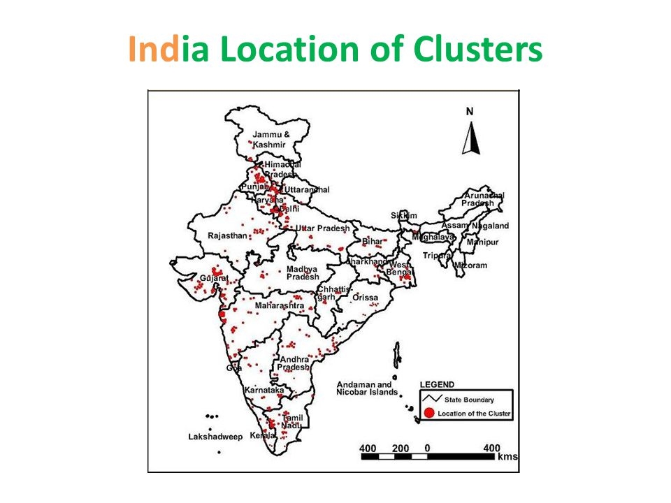 India Location of Clusters