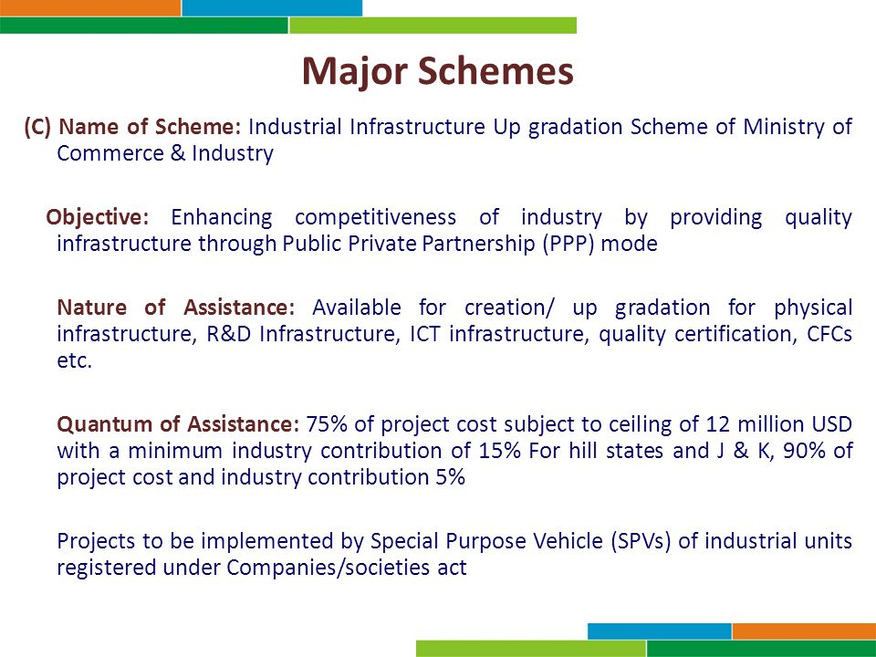Major Schemes (C) Name of Scheme: Industrial Infrastructure Up gradation Scheme of Ministry of Commerce & Industry Objective: Enhancing competitivenes