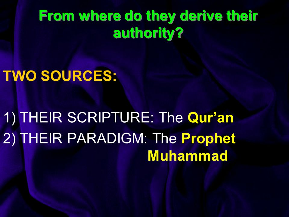 From where do they derive their authority.