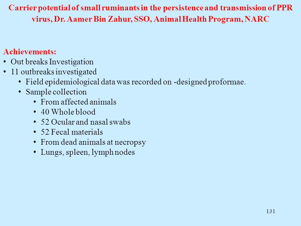 131 Carrier potential of small ruminants in the persistence and transmission of PPR virus, Dr. Aamer Bin Zahur, SSO, Animal Health Program, NARC Achie