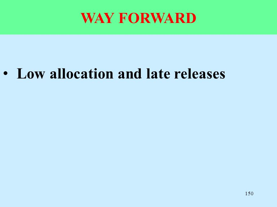 150 WAY FORWARD Low allocation and late releases