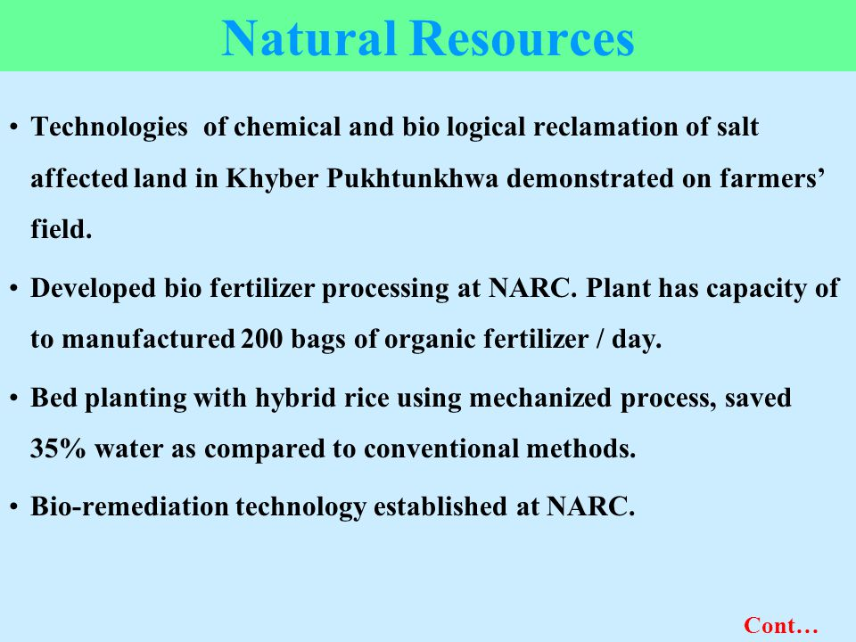 Natural Resources Technologies of chemical and bio logical reclamation of salt affected land in Khyber Pukhtunkhwa demonstrated on farmers' field. Dev