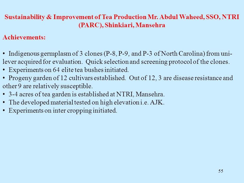 55 Sustainability & Improvement of Tea Production Mr. Abdul Waheed, SSO, NTRI (PARC), Shinkiari, Mansehra Achievements: Indigenous germplasm of 3 clon