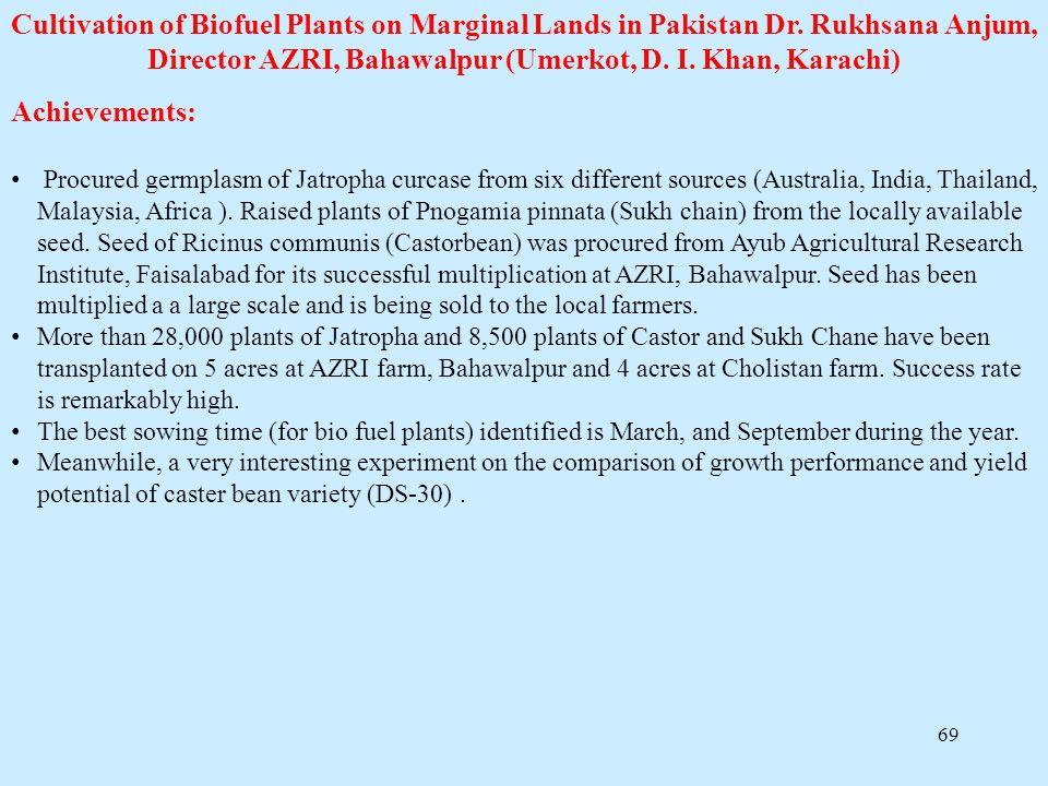 69 Cultivation of Biofuel Plants on Marginal Lands in Pakistan Dr. Rukhsana Anjum, Director AZRI, Bahawalpur (Umerkot, D. I. Khan, Karachi) Achievemen