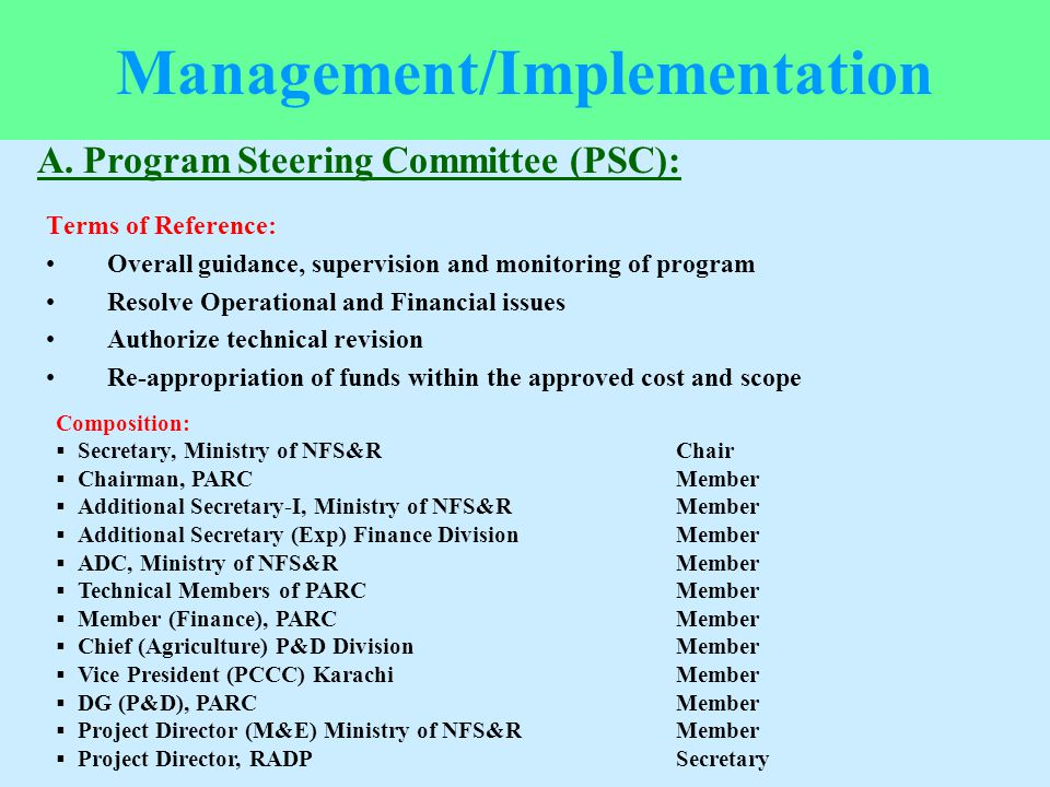 Terms of Reference: Overall guidance, supervision and monitoring of program Resolve Operational and Financial issues Authorize technical revision Re-a
