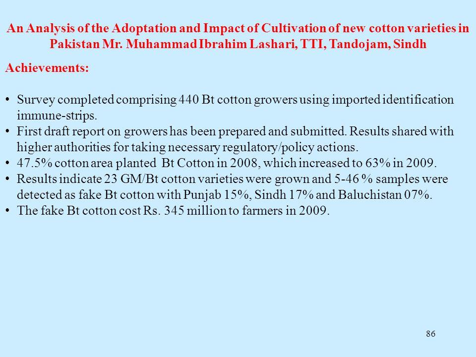 86 An Analysis of the Adoptation and Impact of Cultivation of new cotton varieties in Pakistan Mr. Muhammad Ibrahim Lashari, TTI, Tandojam, Sindh Achi