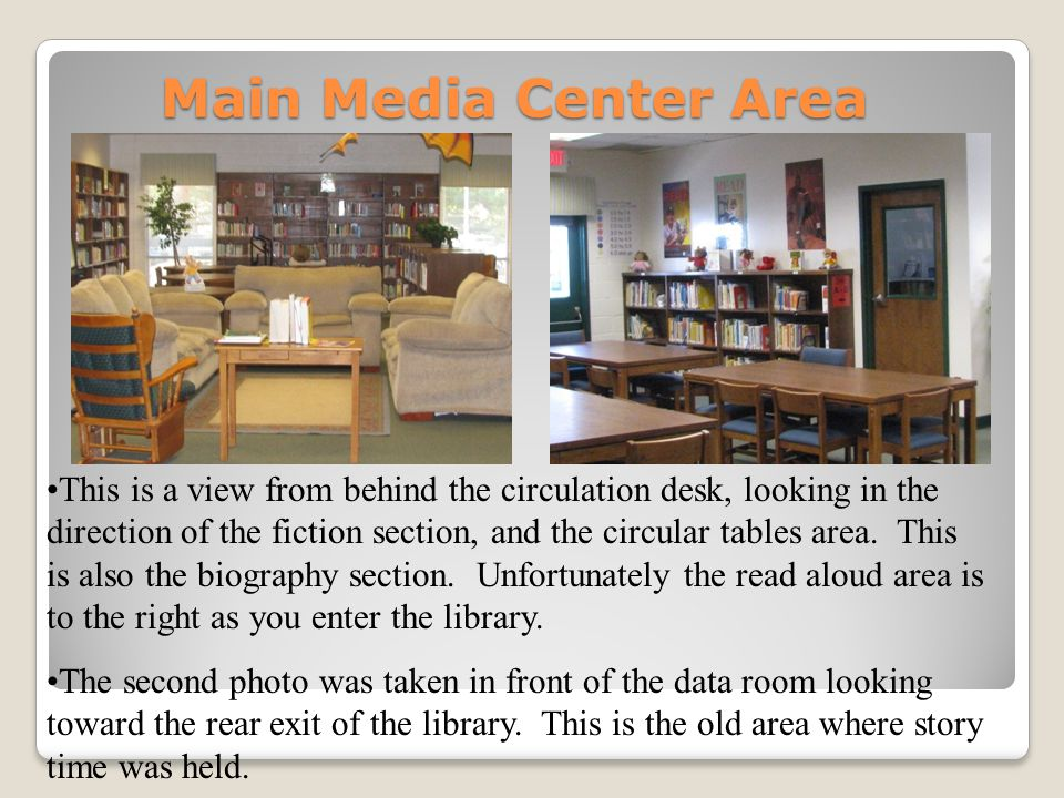 Main Media Center Area This is a view from behind the circulation desk, looking in the direction of the fiction section, and the circular tables area.
