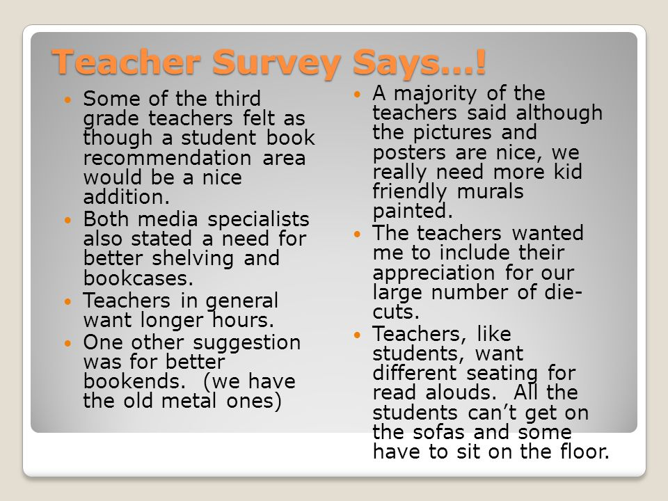 Teacher Survey Says….