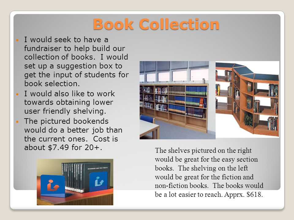 Book Collection I would seek to have a fundraiser to help build our collection of books. I would set up a suggestion box to get the input of students