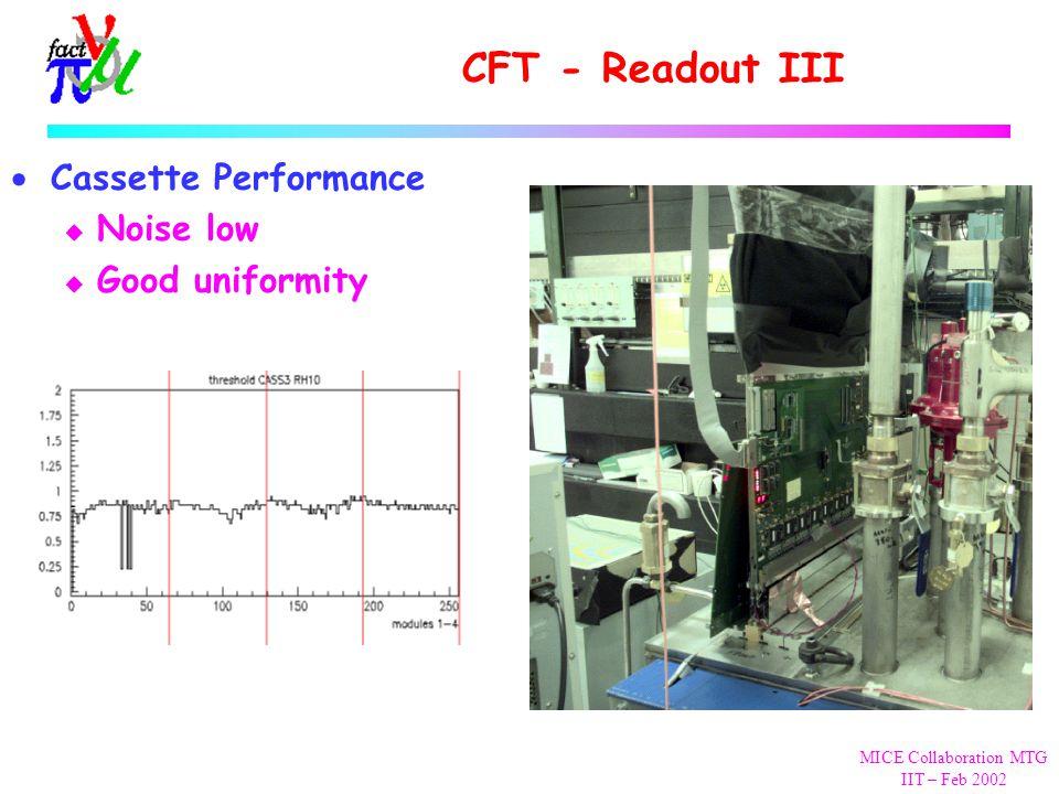 MICE Collaboration MTG IIT – Feb 2002 CFT - Readout III  Cassette Performance u Noise low u Good uniformity