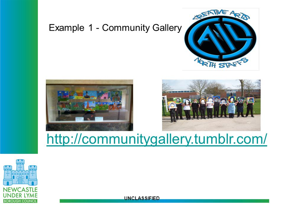 """UNCLASSIFIED COMMUNITY GALLERY Community Gallery"""" - an innovative community arts project managed by Creative Arts North Staffs (CANS), in partnership"""