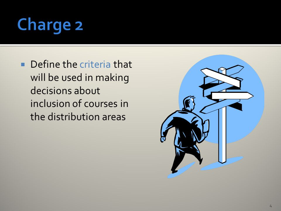  Define the criteria that will be used in making decisions about inclusion of courses in the distribution areas 4