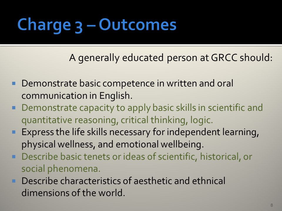 A generally educated person at GRCC should:  Demonstrate basic competence in written and oral communication in English.