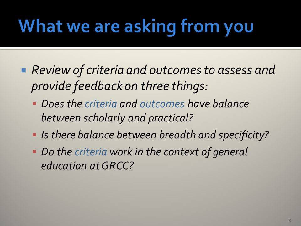  Review of criteria and outcomes to assess and provide feedback on three things:  Does the criteria and outcomes have balance between scholarly and practical.