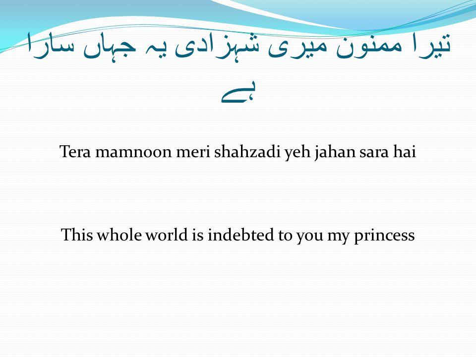 تیرا ممنون میری شہزادی یہ جہاں سارا ہے Tera mamnoon meri shahzadi yeh jahan sara hai This whole world is indebted to you my princess
