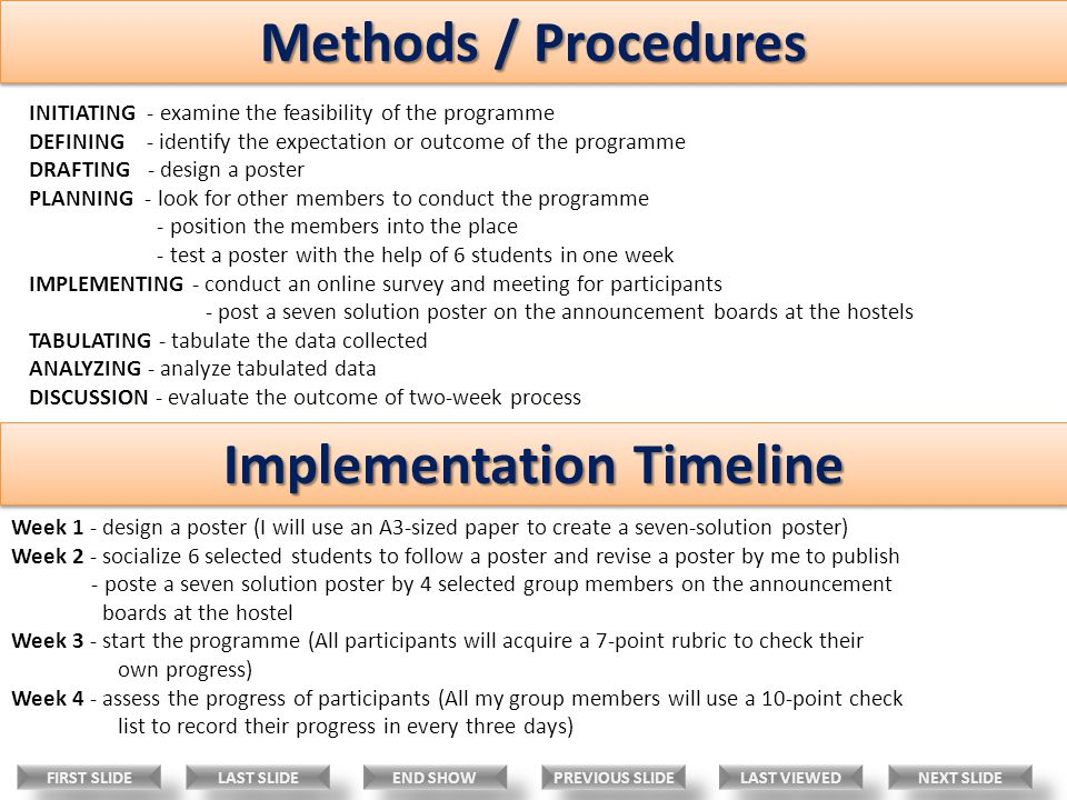 Methods / Procedures Implementation Timeline INITIATING - examine the feasibility of the programme DEFINING - identify the expectation or outcome of the programme DRAFTING - design a poster PLANNING - look for other members to conduct the programme - position the members into the place - test a poster with the help of 6 students in one week IMPLEMENTING - conduct an online survey and meeting for participants - post a seven solution poster on the announcement boards at the hostels TABULATING - tabulate the data collected ANALYZING - analyze tabulated data DISCUSSION - evaluate the outcome of two-week process Week 1 - design a poster (I will use an A3-sized paper to create a seven-solution poster) Week 2 - socialize 6 selected students to follow a poster and revise a poster by me to publish - poste a seven solution poster by 4 selected group members on the announcement boards at the hostel Week 3 - start the programme (All participants will acquire a 7-point rubric to check their own progress) Week 4 - assess the progress of participants (All my group members will use a 10-point check list to record their progress in every three days) LAST VIEWED NEXT SLIDE LAST SLIDE FIRST SLIDE PREVIOUS SLIDE END SHOW
