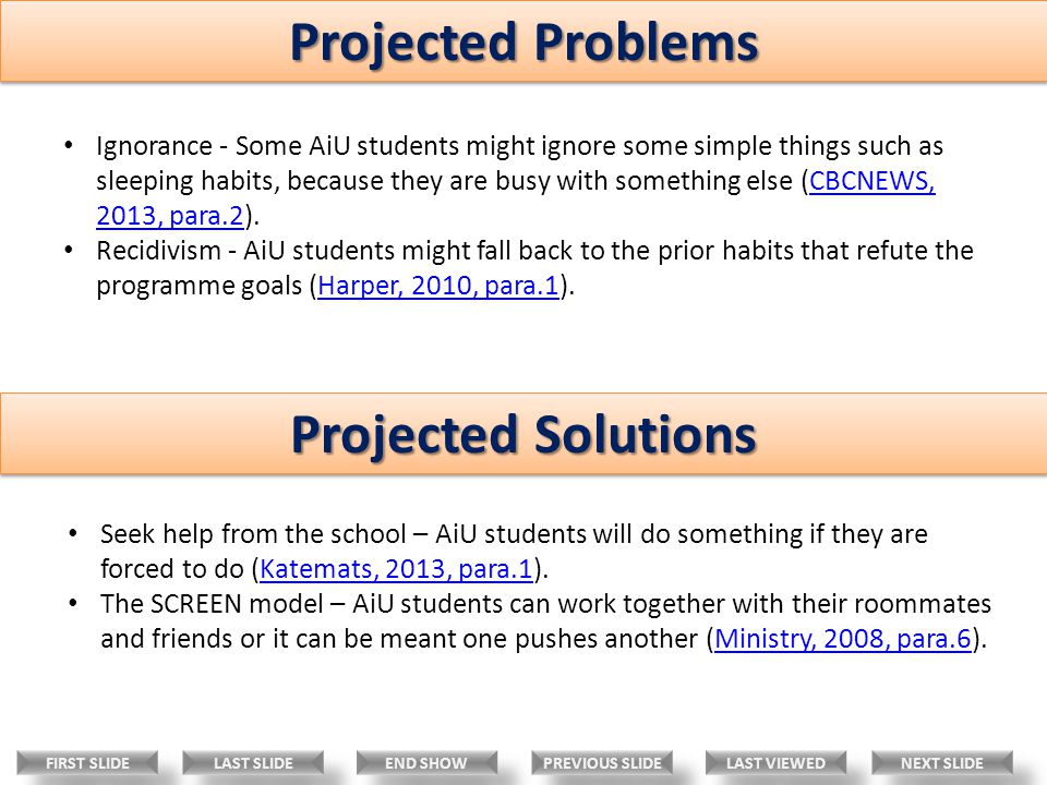 Projected Problems Projected Solutions Ignorance - Some AiU students might ignore some simple things such as sleeping habits, because they are busy with something else (CBCNEWS, 2013, para.2).CBCNEWS, 2013, para.2 Recidivism - AiU students might fall back to the prior habits that refute the programme goals (Harper, 2010, para.1).Harper, 2010, para.1 Seek help from the school – AiU students will do something if they are forced to do (Katemats, 2013, para.1).Katemats, 2013, para.1 The SCREEN model – AiU students can work together with their roommates and friends or it can be meant one pushes another (Ministry, 2008, para.6).Ministry, 2008, para.6 LAST VIEWED NEXT SLIDE LAST SLIDE FIRST SLIDE PREVIOUS SLIDE END SHOW