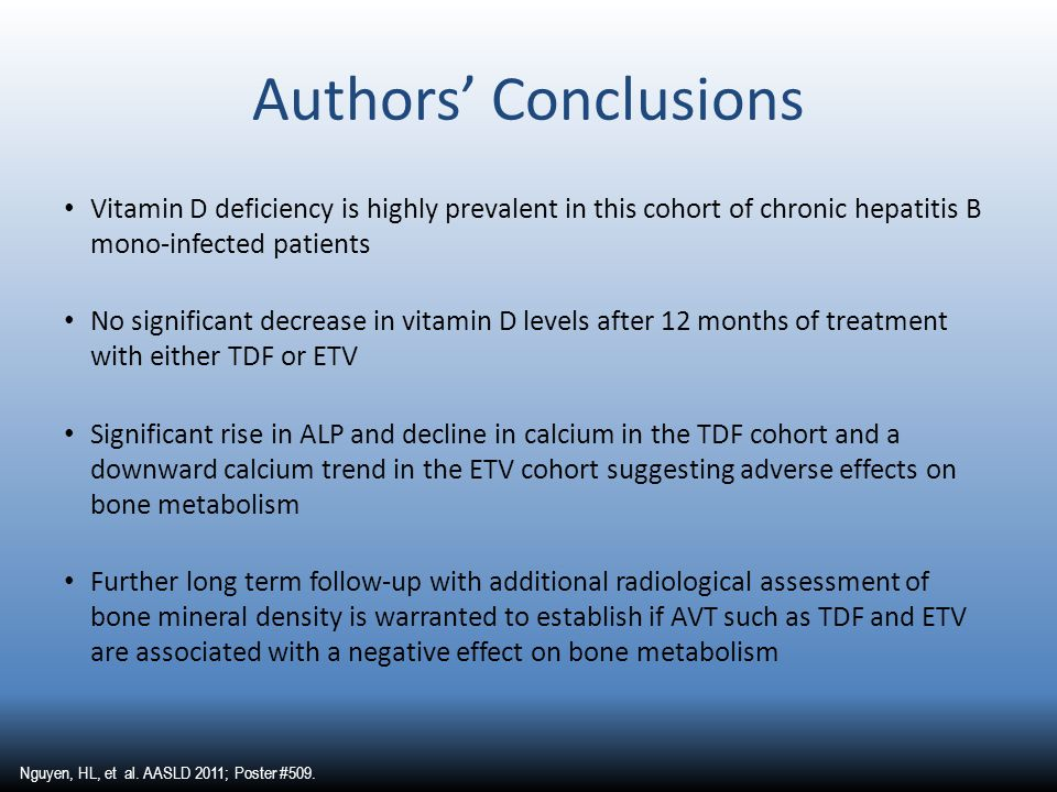 Authors' Conclusions Vitamin D deficiency is highly prevalent in this cohort of chronic hepatitis B mono-infected patients No significant decrease in