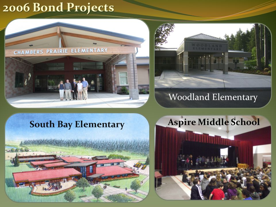 2006 Bond Projects South Bay Elementary Woodland Elementary Aspire Middle School