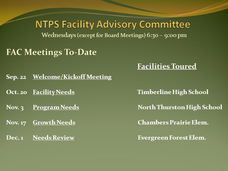 Sep. 22Welcome/Kickoff Meeting Wednesdays (except for Board Meetings) 6:30 – 9:00 pm Oct.