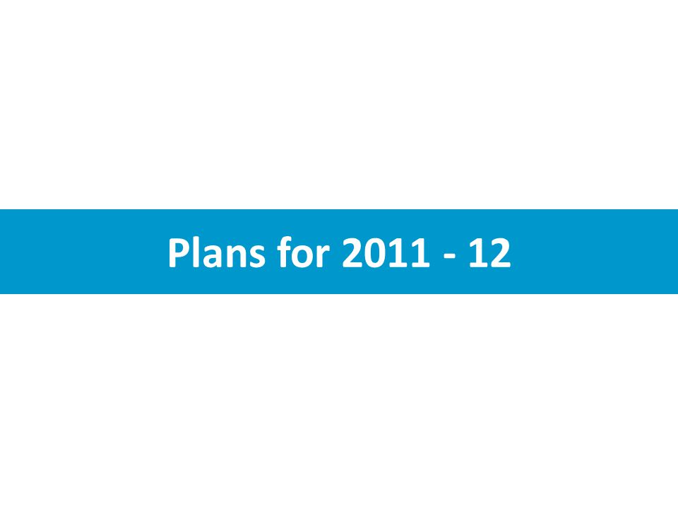 Plans for 2011 - 12