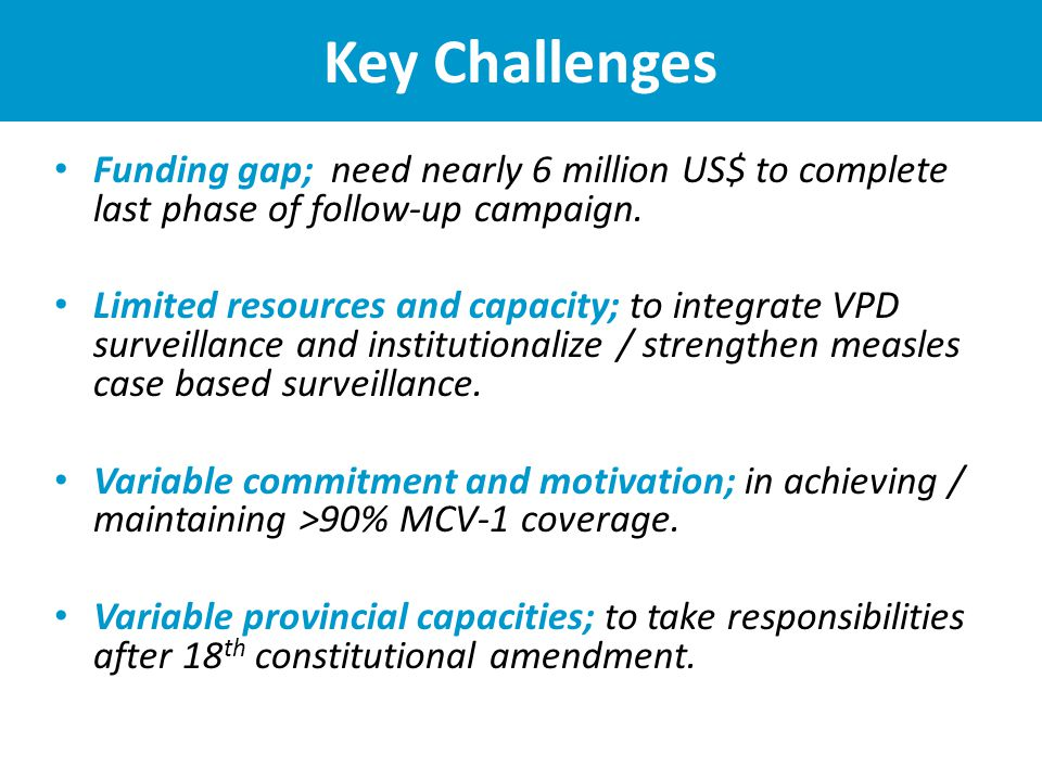 Key Challenges Funding gap; need nearly 6 million US$ to complete last phase of follow-up campaign.