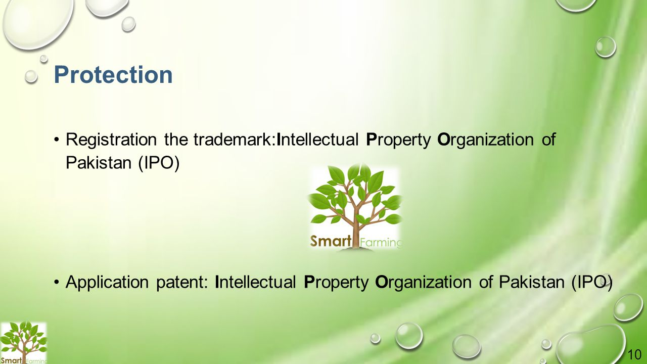 Protection Registration the trademark:Intellectual Property Organization of Pakistan (IPO) Application patent: Intellectual Property Organization of Pakistan (IPO) 10